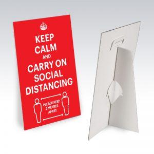 desktop sign social distacing